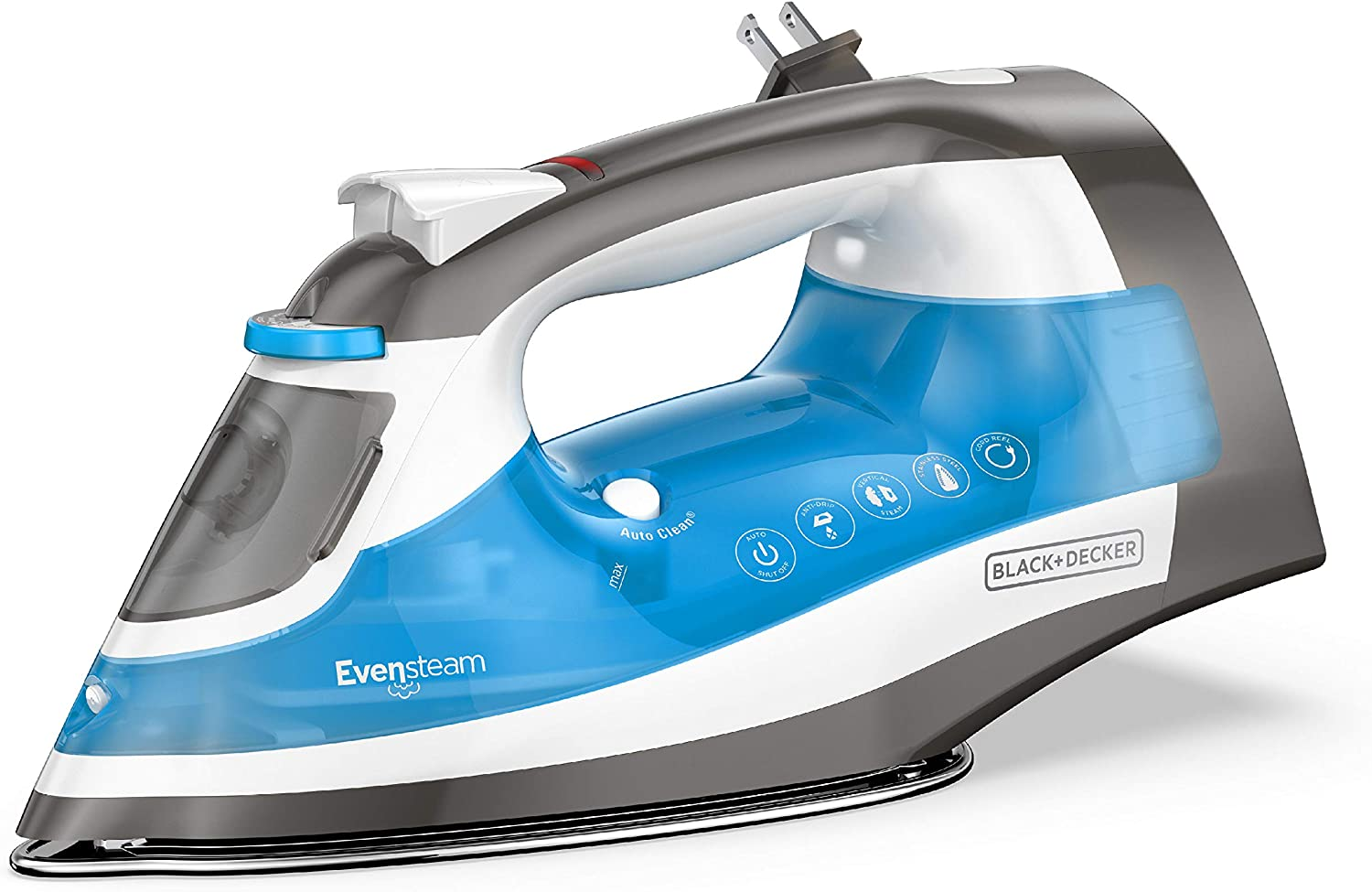 BLACK+DECKER ICR19XS One Step Steam Iron with with Stainless Nonstick Soleplate and Cord Reel, Size, Grey
