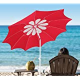 AMMSUN 2017 10 panels 7ft Polyester Fabric Heavy Duty Patio Beach Umbrella,Adjustable Height, deluxe flower design with Zinc Tilt Red/White