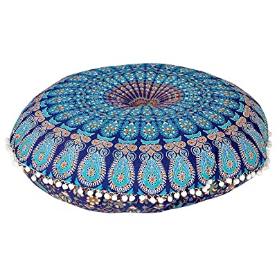 "MY DREAM CARTS 32"" Mandala Floor Pillow Cushion Meditation Seating Ottoman Throw Cover Hippie Decorative Round Bohemian Pouf Pom (Blue): Home & Kitchen"