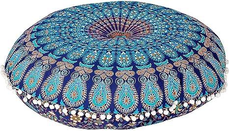 Indian Mandala Ottoman Round Floor Pillow Seating Boho Hippie Large pouf Cover