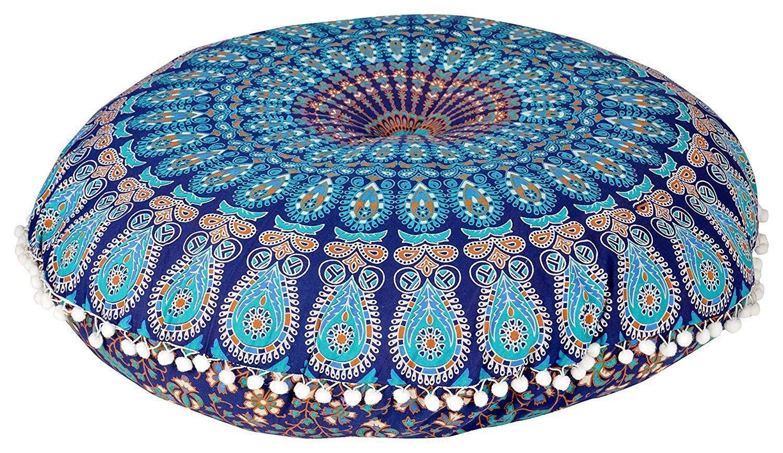 MY DREAM CARTS 32'' Mandala Floor Pillow Cushion Meditation Seating Ottoman Throw Cover Hippie Decorative Round Bohemian Pouf Pom (Blue) by MY DREAM CARTS