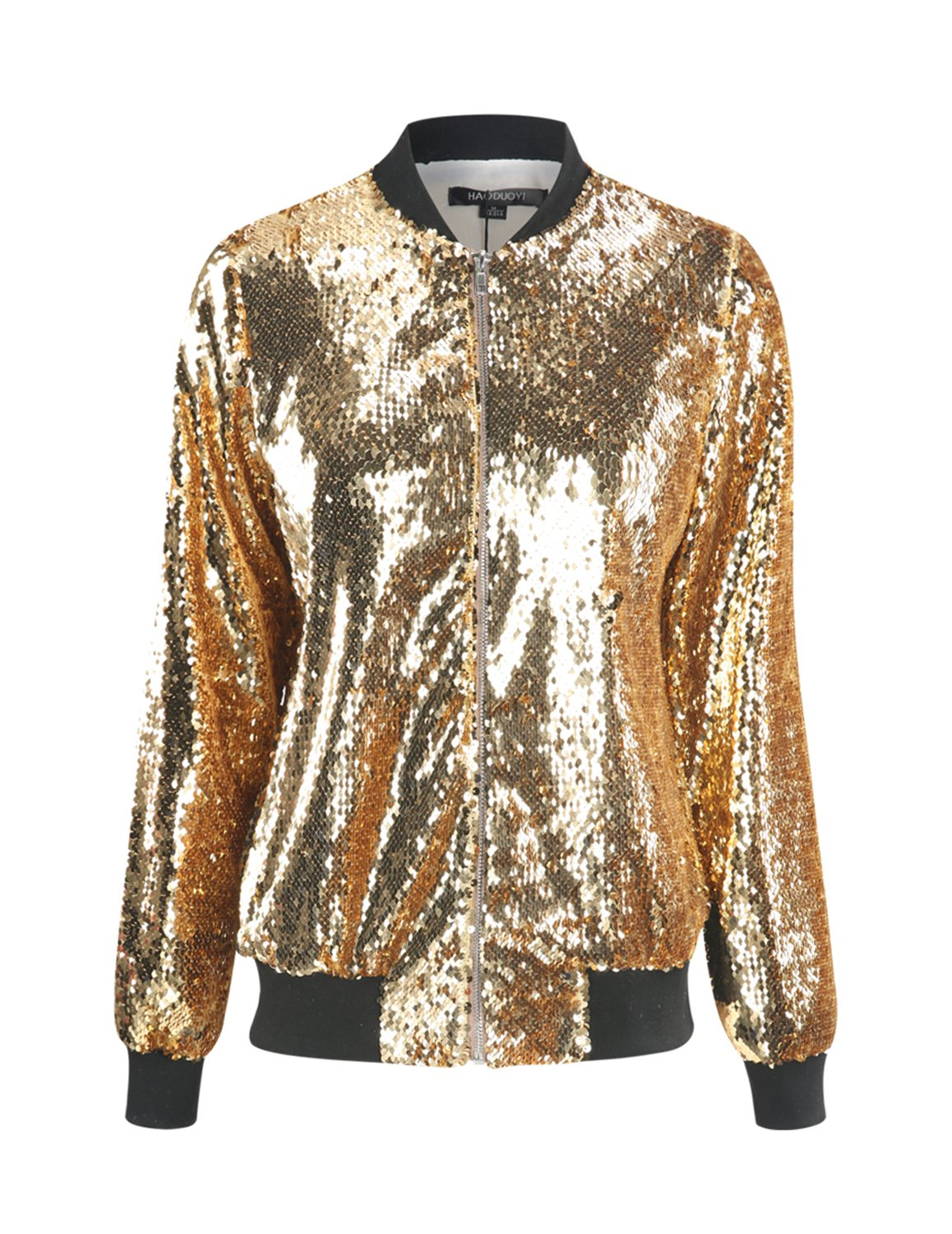 HaoDuoYi Womens Casual Lightweight Sequin Zipper Bomber Jacket (Large, Gold)