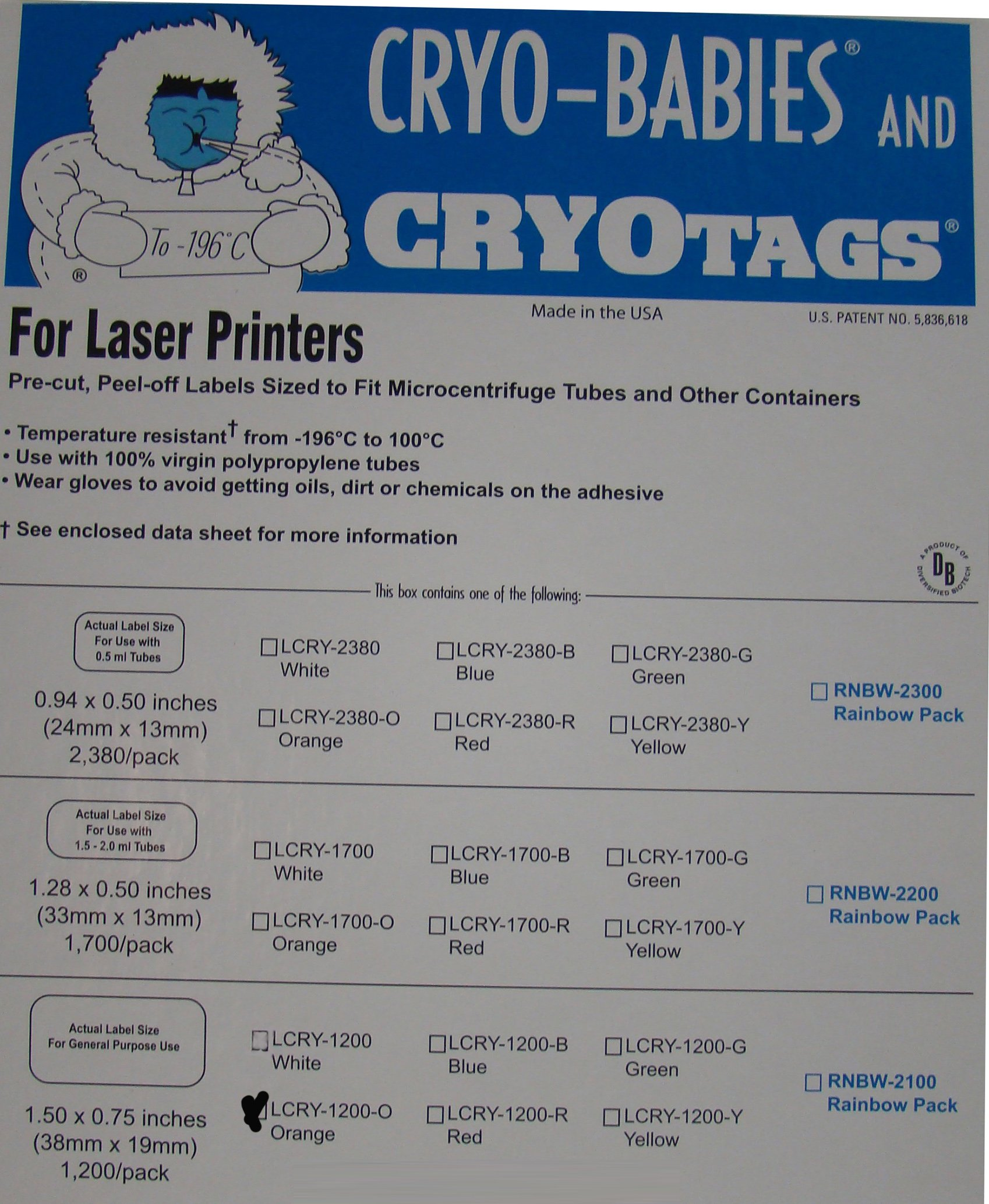 Cryo-Tags Labels, Laser Sheet, 1.5 x 0.75 Inches, Orange, 1,200 per Package by RPI