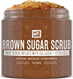 M3 Naturals Brown Sugar Scrub Infused with Collagen and Stem Cell Natural Souffle Body and Face Scrub for Acne Cellulite…