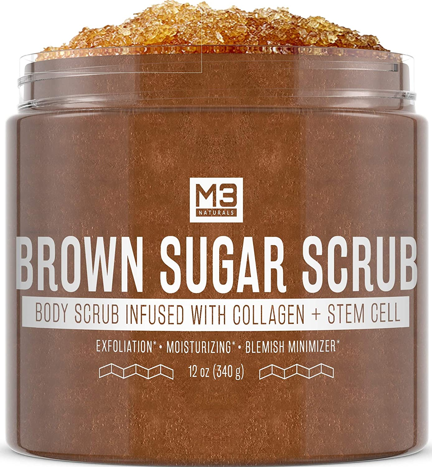 M3 Naturals Brown Sugar Scrub Infused with Collagen and Stem Cell Natural Souffle Body and Face Scrub for Acne Cellulite Stretch Marks Spider Veins Scars Wrinkles Skin Care Exfoliator 12 oz : Beauty