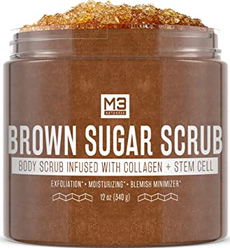 Amazon Com M3 Naturals Brown Sugar Scrub Infused With Collagen