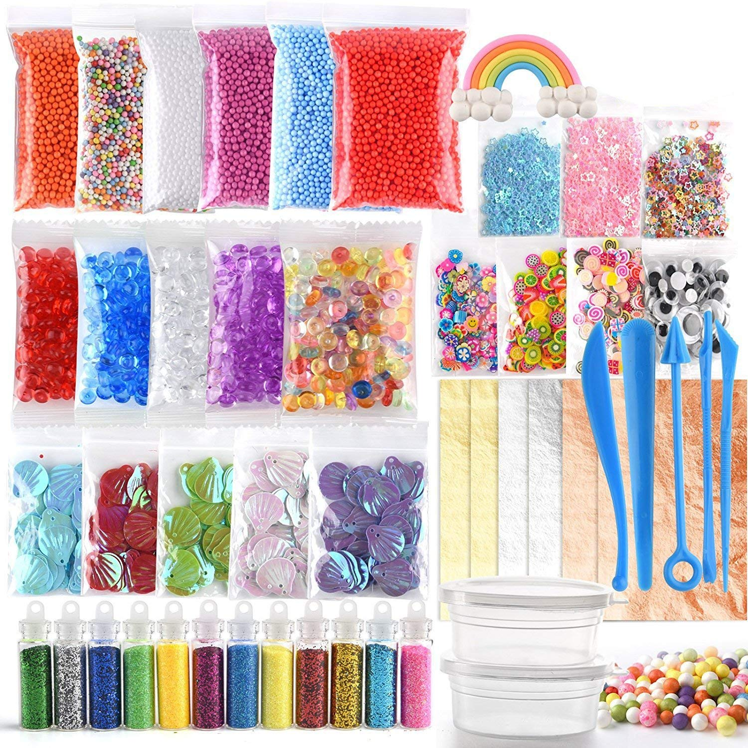 KUUQA 49 Packs Slime Supplies Kit Including Fishbowl Beads, Wobbly Eyes, Shell, Slices, Confetti, Slime Foam Beads, Slime Tools, Imitation Gold Leaf, Containers FP0037-CA