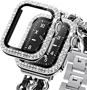 KADES Compatible for Bling Apple Watch Protective Case with Built-in Screen Protector for Apple Watch 38mm 40mm 42mm 44mm iWatch SE Series 6 5 4 3 2 1 (38mm, Black w/Silver Edge)