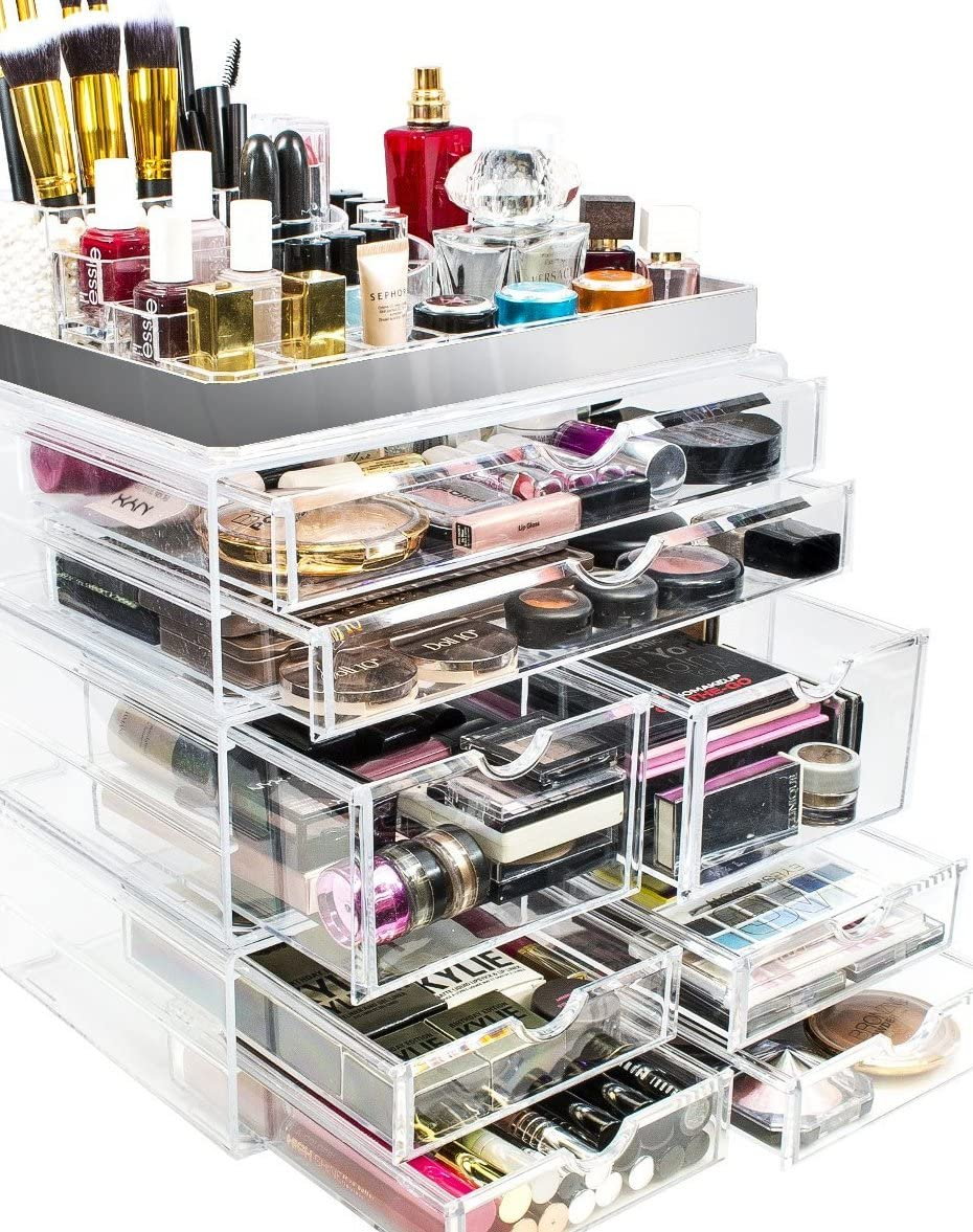 Sorbus Acrylic Cosmetic Makeup and Jewelry Storage Case Display with Silver Trim – Spacious Design – Great for Bathroom, Dresser, Vanity and Countertop Silver Set 2
