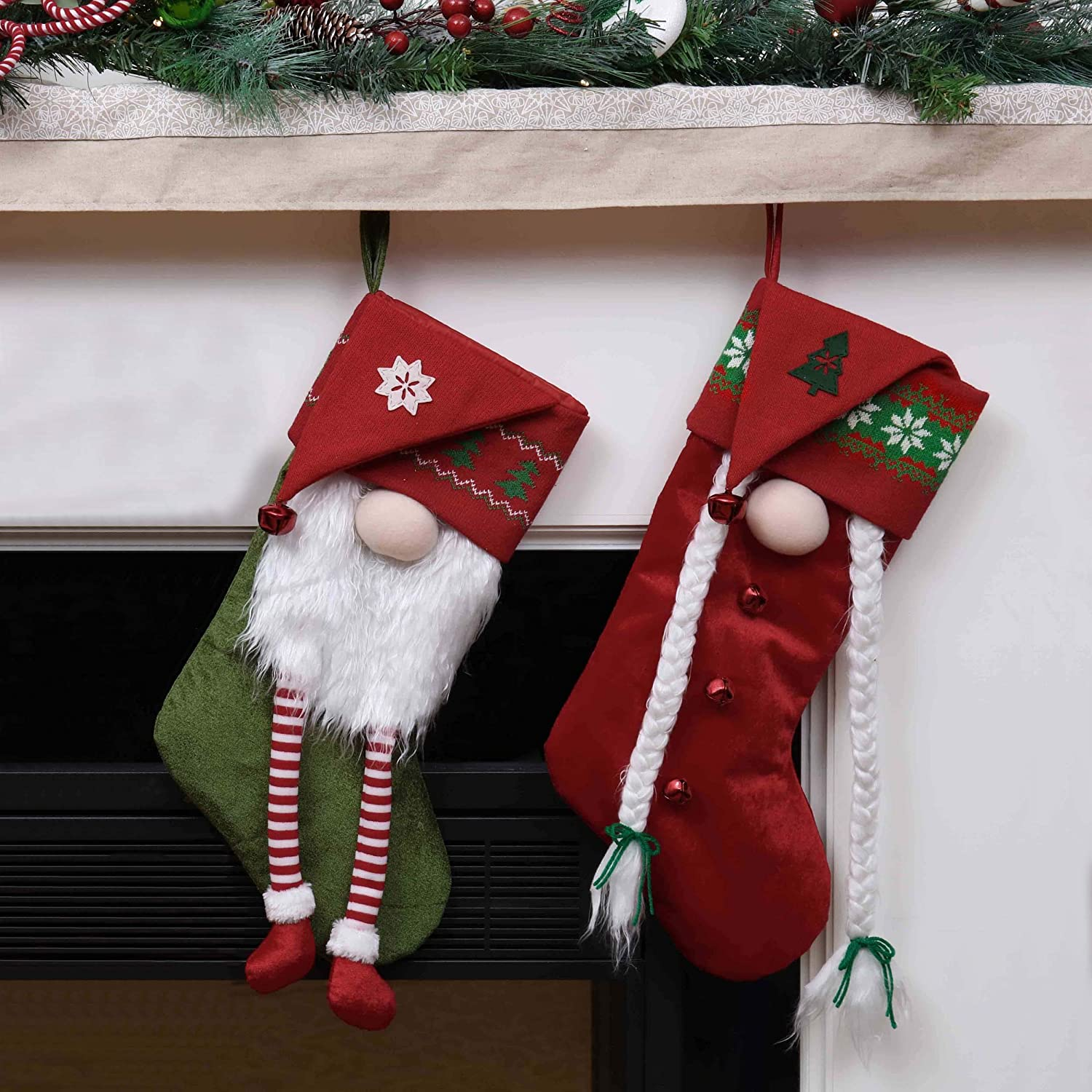 Themed with Tree Skirt Not Included Valery Madelyn 21 inch 2 Pack 3D Funny Gnome Christmas Stockings Decorations with Knit Christmas Hat