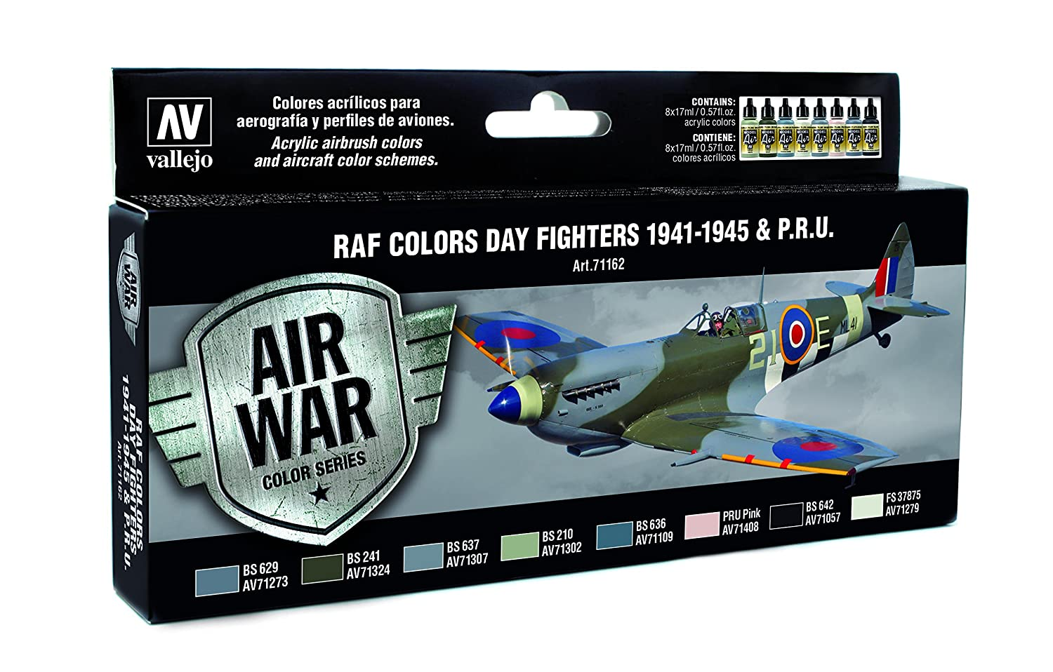 Vallejo model air wwii raf day fighters acrylic paint kit for air vallejo model air wwii raf day fighters acrylic paint kit for air brush assorted colours pack of 8 acrylicos vallejo amazon office products geenschuldenfo Images