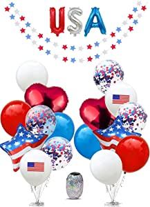 Patriotic decorations, 4th of July Decor, Fourth of July Decor, Independence Day Decorations, Memorial Day, Military Homecomings, Patriotic, Red White and Blue Decorations, Star Garlands Decor, US America Flag, USA American Flags, Garland, Mylar Foil, Latex Balloons for Party Favors Decorations Supplies