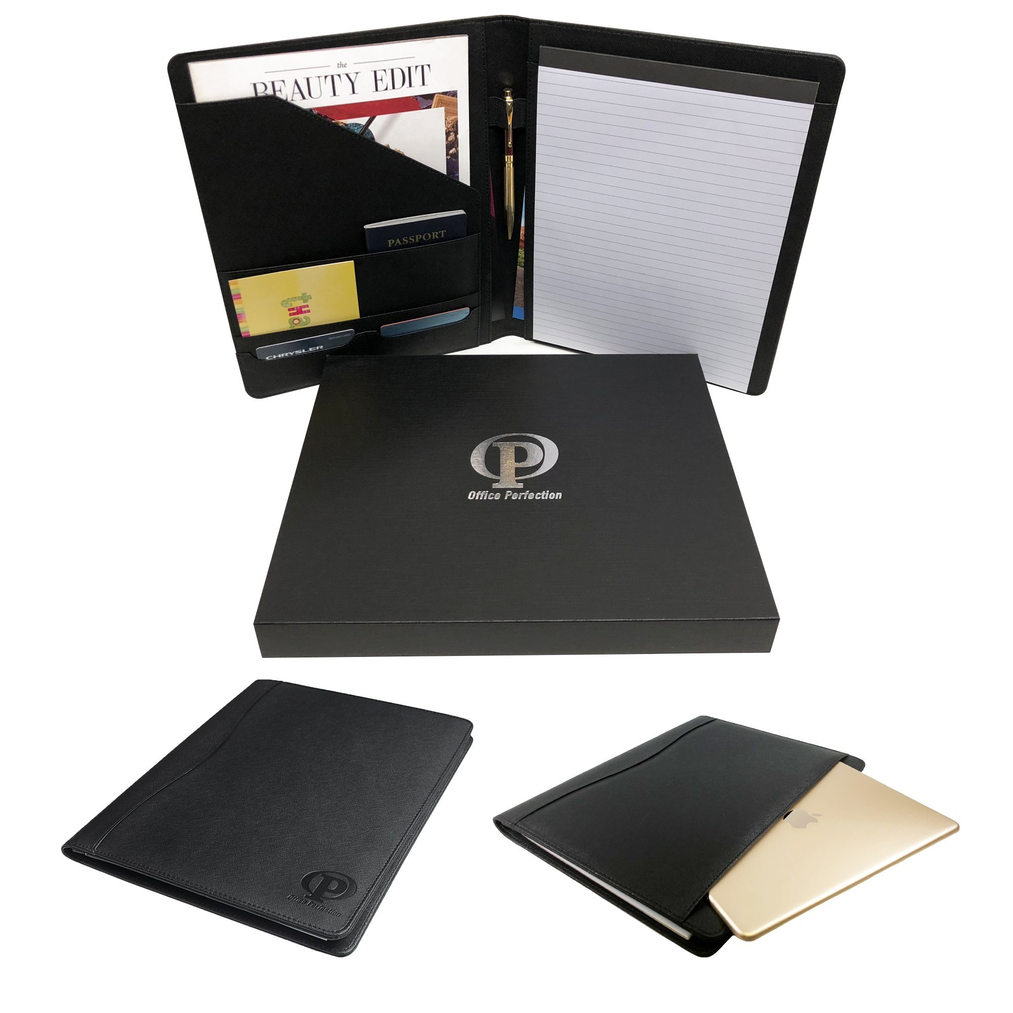 """Professional Padfolio - Document Resume Organizer - Business Card/Credit Card Holder with Notebook - ipad/Tablet Pocket Fit up to 9.7"""" - Premium PU Leather (Office Perfection)"""
