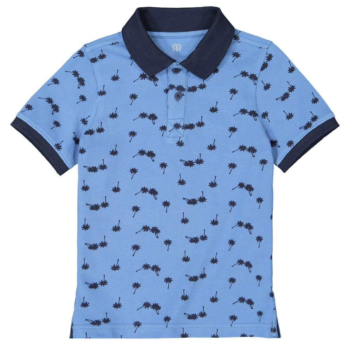 La Redoute Collections Palm Print Short-Sleeved Polo Shirt, 3-12 Years Blue Size 3 Years (94 cm)