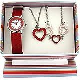 The Olivia Collection- Armbanduhr, Anhänger und Armband mit Herzen. Geschenkset KS004