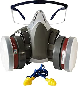 Induschoice Half Face Organic Vapors Respirator Mask Multi-Purpose Respirator Gas Mask Set of 4,Medium
