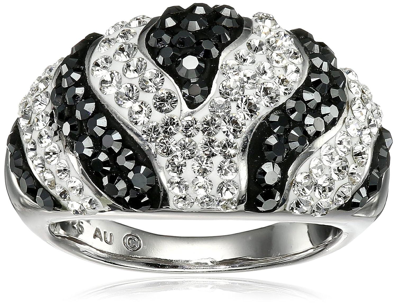 Sterling Silver White and Black Zebra Ring with Swarovski Elements, Size 7