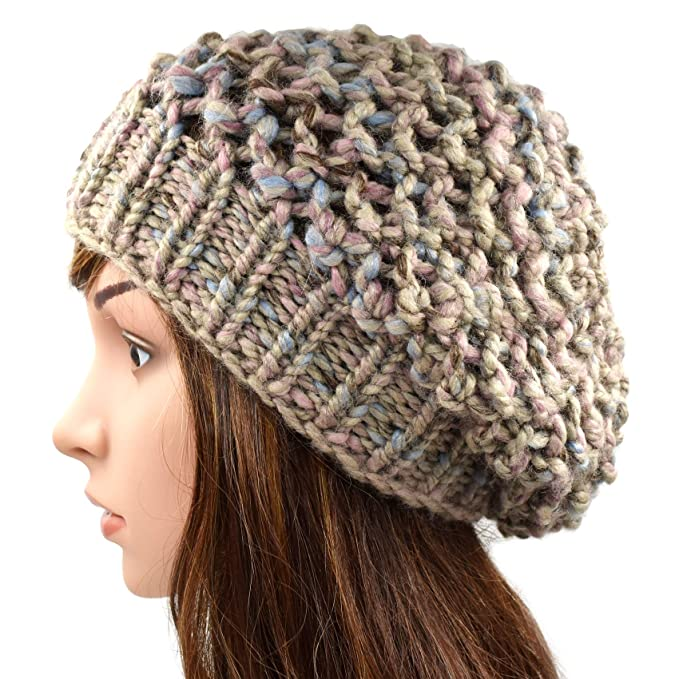 da8a7f4f87f Magic Needles Winter Woolen Cap (Handmade Womens Netted Slouchy Beanie -  Pink)  Amazon.in  Clothing   Accessories