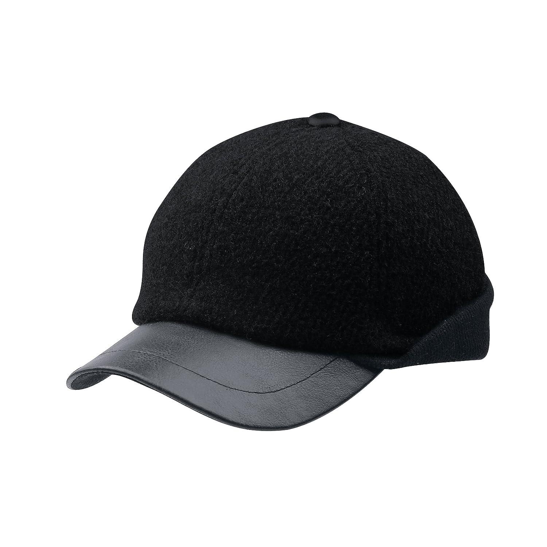 メンズウールキャップwith Warmer flap-3508 B00YO6RK5O ブラック Medium