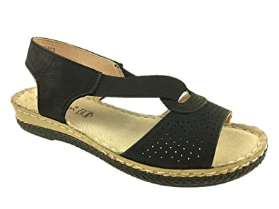08d1009f2db7 Safran Ladies Fashion Leather Lined Flat Elasticated Summer Sandals Size  3-8  Amazon.co.uk  Shoes   Bags