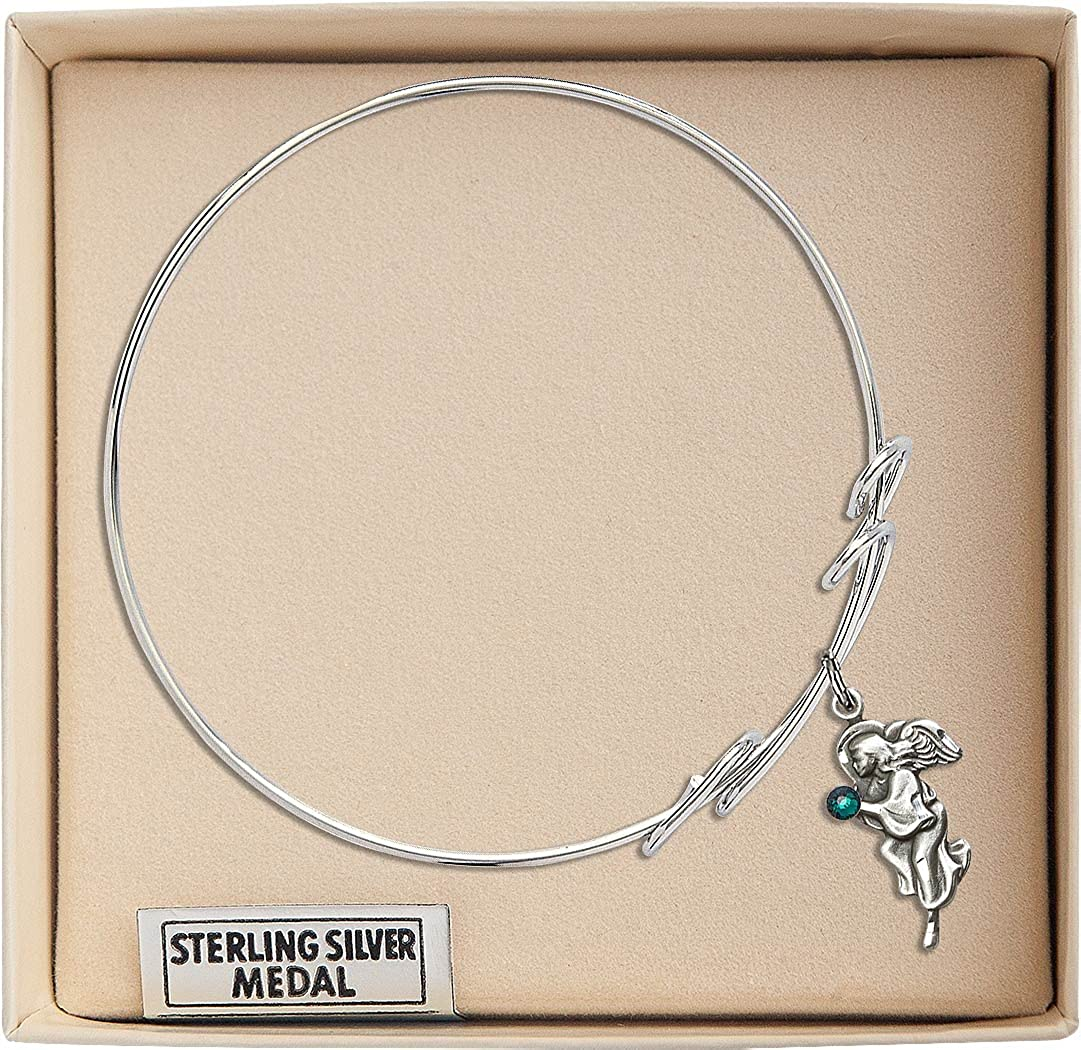 8 inch Round Double Loop Bangle Bracelet with a Guardian Angel charm.