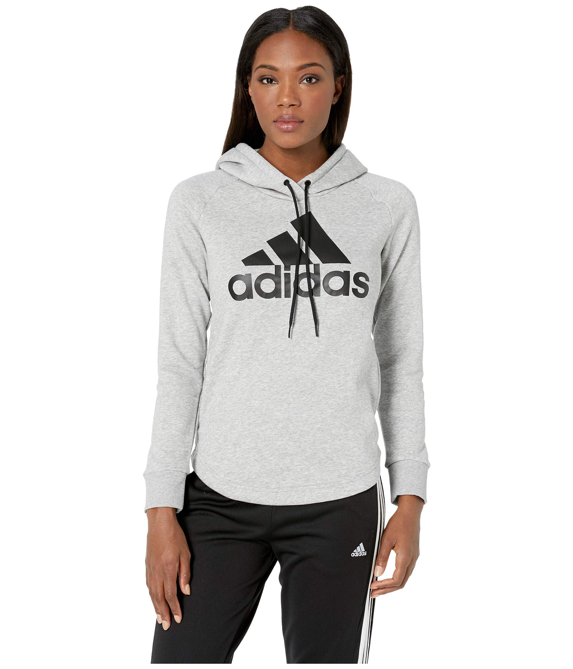 adidas Women's Must Have Hoodie Medium Grey Heather/Black Small