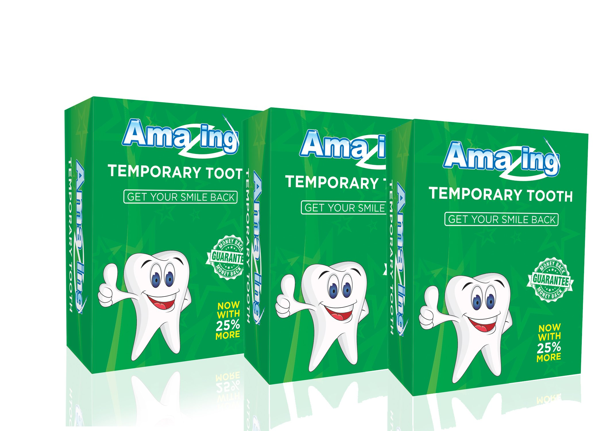 Amazing Temporary Missing Tooth Kit 3 Pack Replacement Temp Dental 25% more than others by Amazing Temporary Tooth