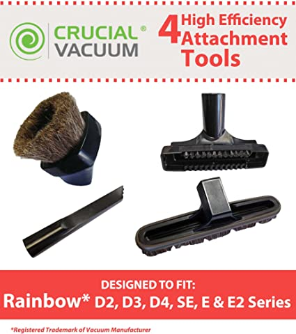 Think Crucial 4 Replacements For Rainbow Crevice Tool Dusting Brush Upholstery Tool Floor Brush Fits D2 D3 D4 Se E E2 Series Compatible With Part R 8055 Amazon Co Uk Kitchen Home
