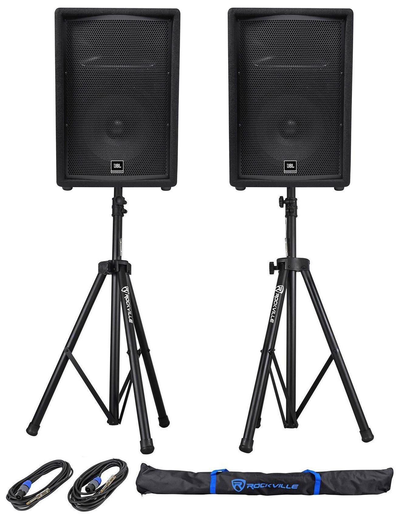 (2) JBL Pro JRX212 12'' 2000w Passive 8 Ohm PA/DJ Speakers+Stands+Cables JRX 212 by JBL
