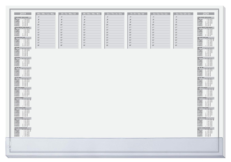 Sigel HO366 Sottomano da scrivania di carta, con listello rinforzo trasparente, calendario 2 anni, Protect, 59,5x41 cm, 40 fg.