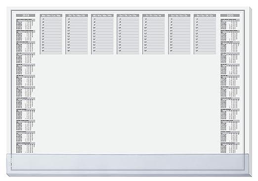 SIGEL HO366 Papier-Schreibunterlage, ca. DIN A2, mit transparenter Schutzleiste, 2-Jahres-Kalender, 40 Blatt