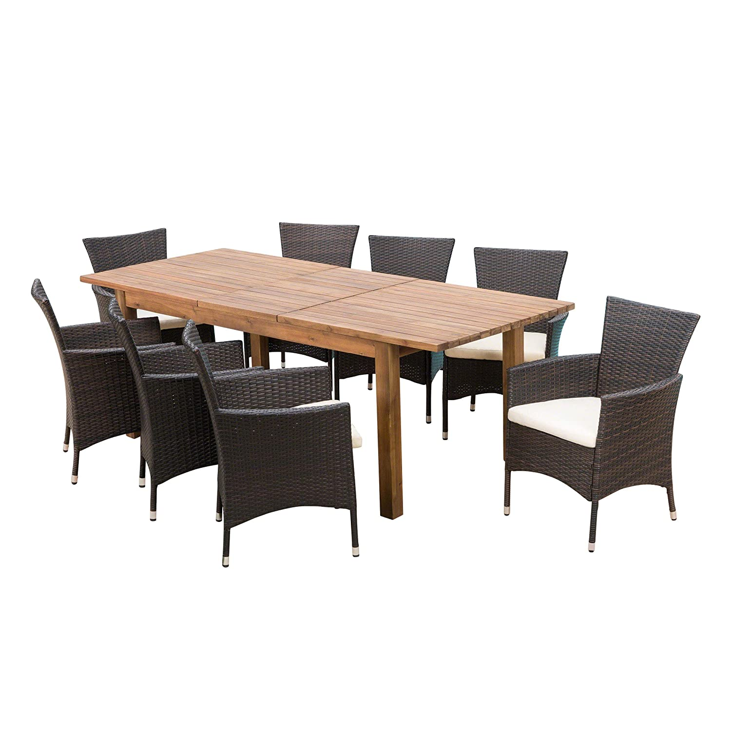Great deal furniture lorelei outdoor 9 piece multibrown wicker dining set with teak finished acacia wood expandable dining table and beige water resistant