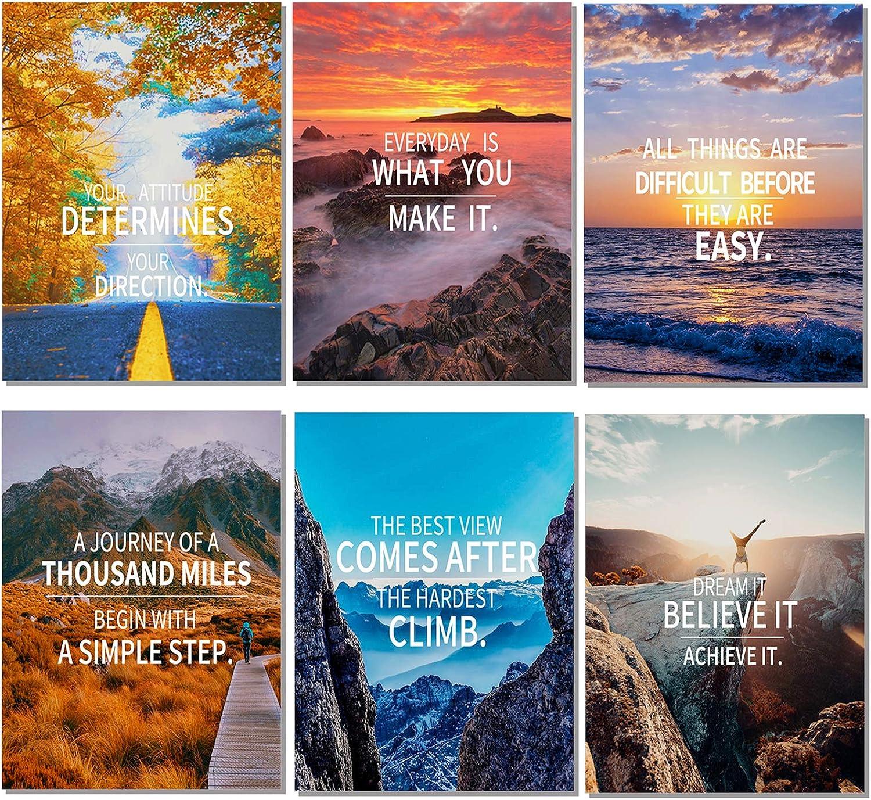 HOMANGA Set of 6 Motivational Posters for Office, Inspirational Wall Art, Motivational Quotes for Classroom Bedroom Living Room Decor, 11x14 Inch Unframed