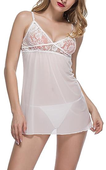 a3194d9c03 BMAKA Pijama Lencería Picardías de Encaje y Tanga a Juego para Mujer   Amazon.es  Ropa y accesorios