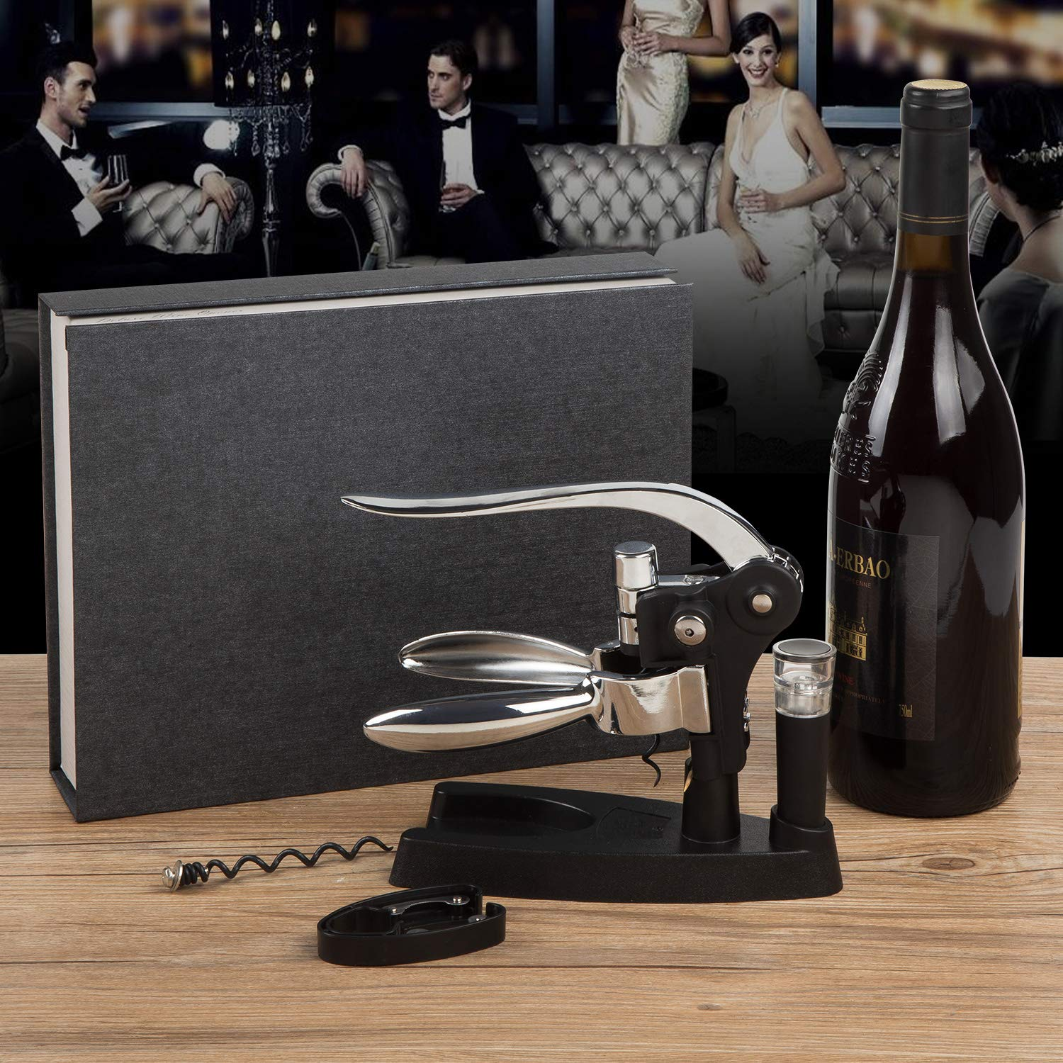 Wine Opener Screwpull Lever Rabbit Corkscrew Stylish Wine Accessory Gift Box Set with foil cutter extra spiral worm and vacuum pump&stopper by WTIANQI (Image #6)