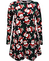 New Womens Ladies Christmas swing dress Long Sleeve Santa Snowflake Colourful Special Novelty Gift Plus Size 8-26