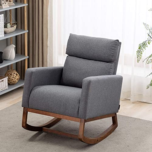 Deal of the week: Artechworks Modern Fabric Rocking Chair Upholstered High Back Arm Retro Chair Padded Seat