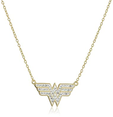 Amazon dc comics 18k gold over silver wonder woman crystal dc comics 18k gold over silver wonder woman crystal pendant necklace aloadofball Image collections