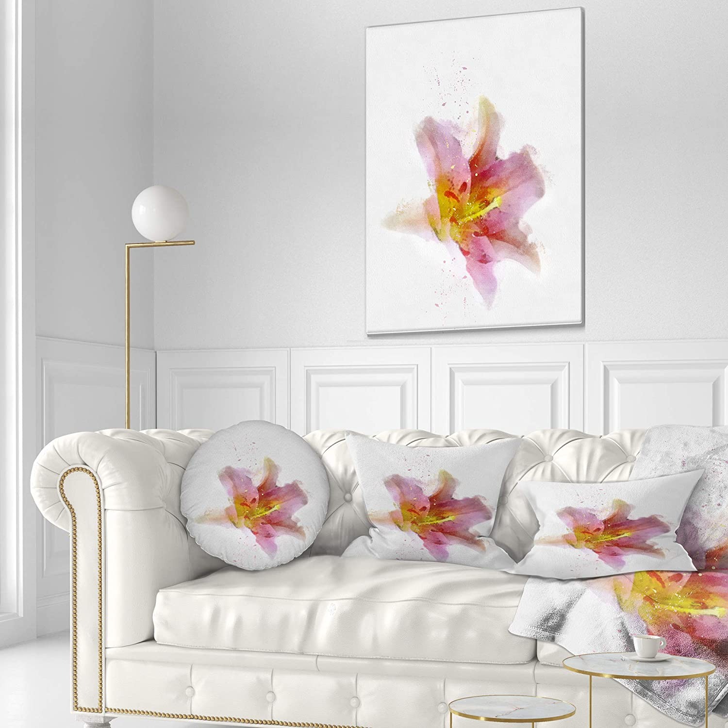 Sofa Throw Pillow 20 Designart Cu13717 20 20 C Watercolor Pink Lily Flower Sketch Floral Round