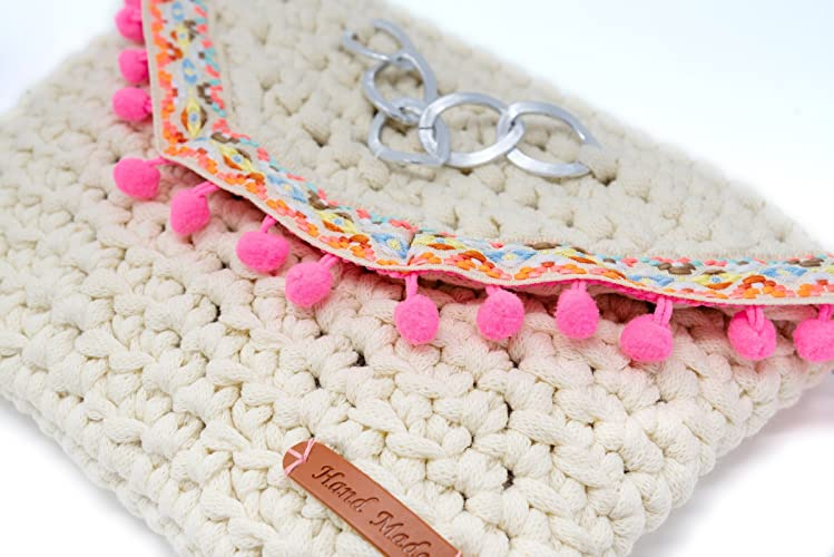 Cartera de mano tipo sobre tejido a Crochet color Crema estilo Boho chic: Amazon.es: Handmade