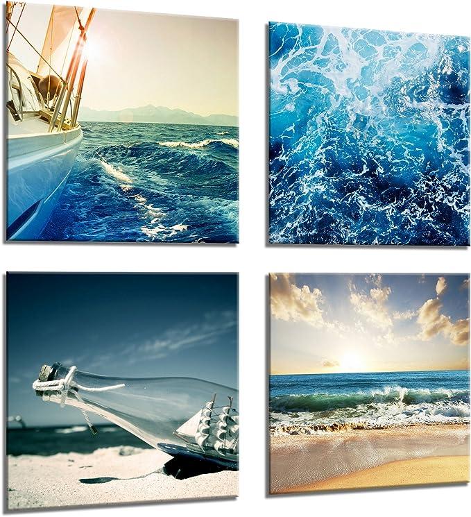 Framed Canvas Print Wall Art Picture Gift Set 4 Piece Seaside Beach Boat Ocean Bottle Amazon Co Uk Kitchen Home