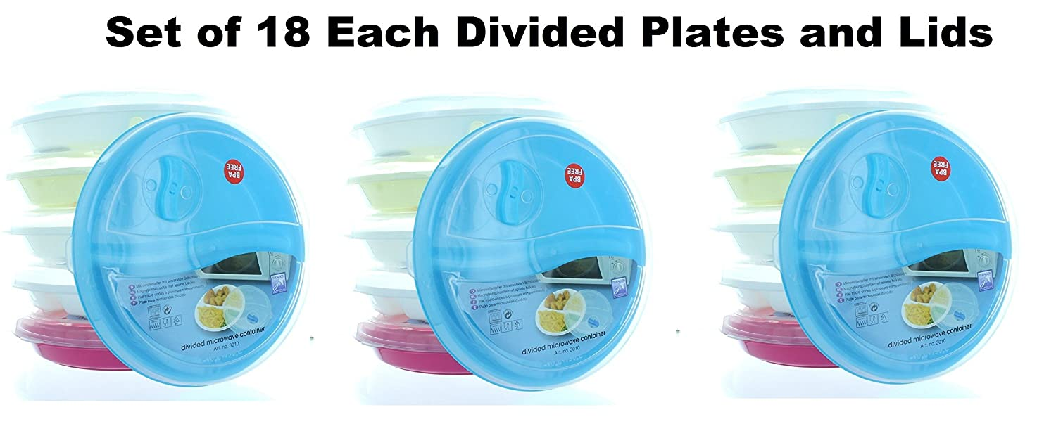 Amazon.com (Set of 6) Microwave Food Storage Tray Containers - 3 Section / Compartment Divided Plates w/ Vented Lid Food Savers Kitchen u0026 Dining  sc 1 st  Amazon.com & Amazon.com: (Set of 6) Microwave Food Storage Tray Containers - 3 ...