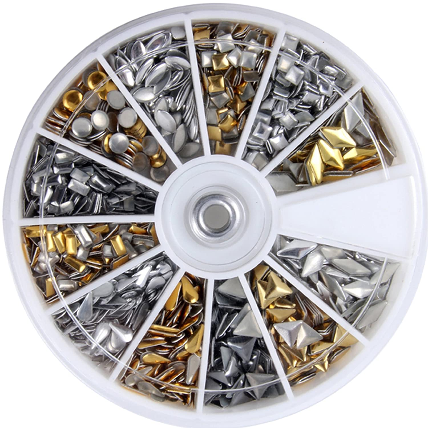SODIAL(R) 600 pcs 3D Design Nail Art Different Metallic Studs Gold & Silver Stud Wheel Manicure 045111