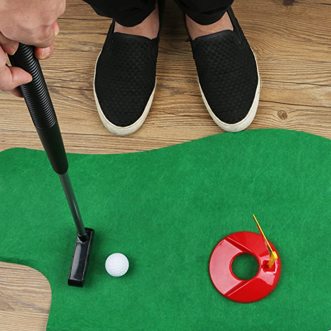 HuoBi Toilet Golf ,Potty Golf Drinker Toilet Toy Potty Putter Putting Golfing Game Indoor Practice Mini Golf Gift Set Golf Training Accessory for Men