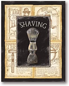 Gango Editions Popular Vintage Old-Fashioned Shaving Sign; One 8x10 MDF Mounted Print