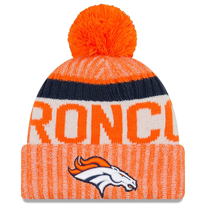 c68c506744e5f Amazon.com  New Era Denver Broncos 2017 On-Field Sport Knit Beanie Hat Cap  Orange  Sports   Outdoors