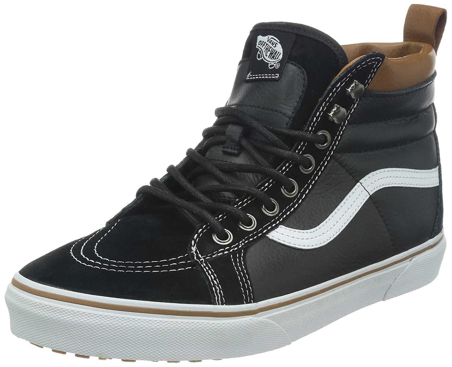 Vans Sk8-Hi Unisex Casual High-Top Skate Shoes, Comfortable and Durable in Signature Waffle Rubber Sole B00HJBRD1W 14.5 Women / 13 Men M US|(Mte) Black/True White
