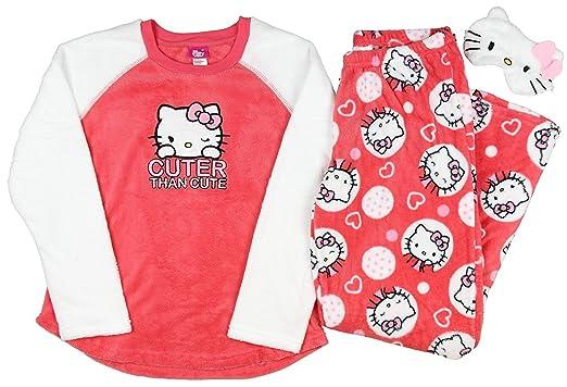 3c3fe3824 Hello Kitty Plush Pajama Sleep Set w/ Eyemask - Large at Amazon ...