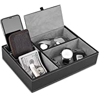NEX Valet Tray, 5 Compartments PU Leather Dresser Valet Organiser for Watches and Jewellery, Father's Day Gifts