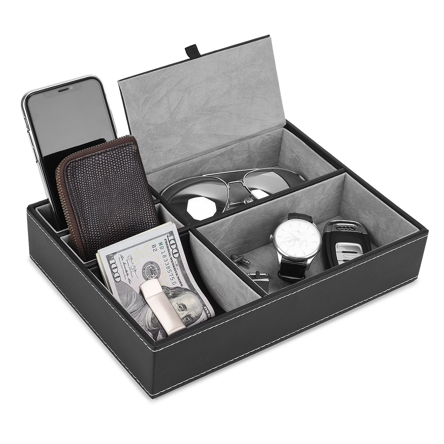 Valet Tray, 5 Compartments PU Leather Dresser Valet Organizer for Watches and Jewelry